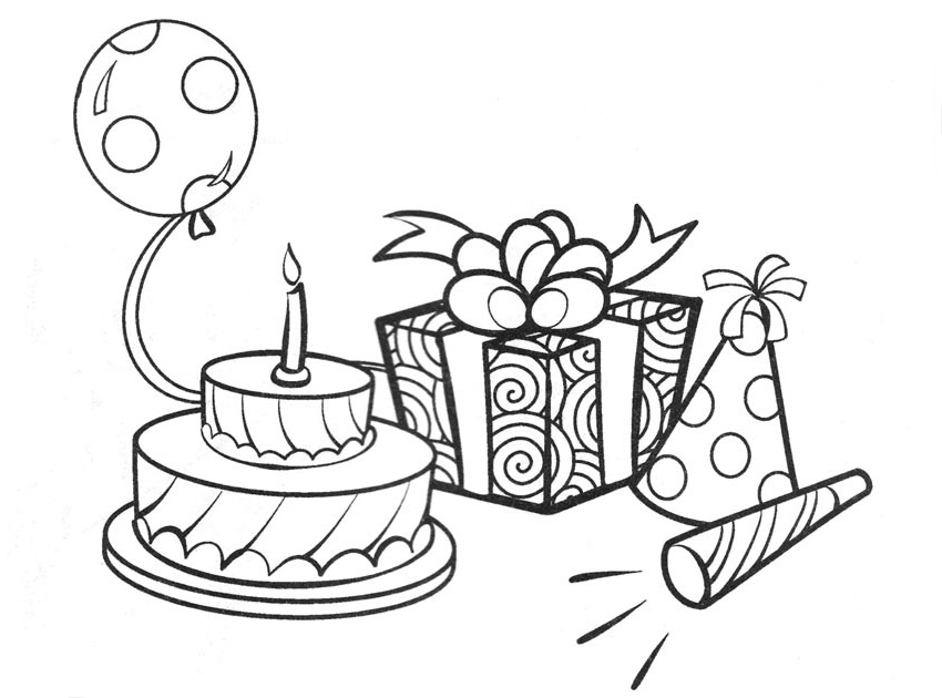 Coloring & Activity Pages: Birthday Stuff Coloring Page