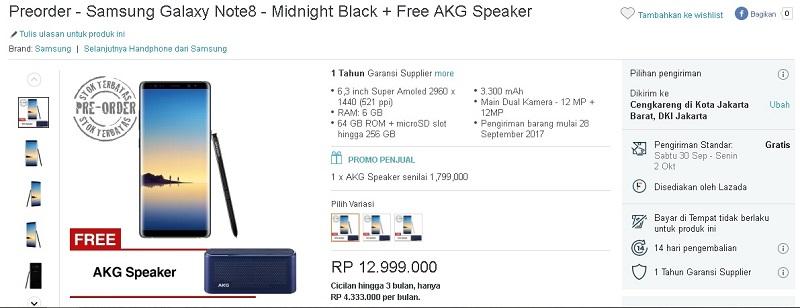 Harga dan Promo Samsung Galaxy Note8