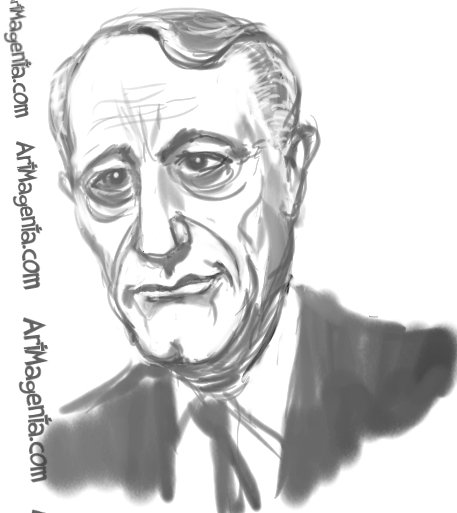 Robert Vaughn is a caricature by Artmagenta