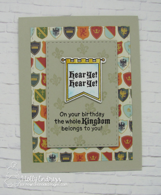 Medieval banner Birthday card by Holly Endress | Knight's Quest Stamp Set by Newton's Nook Designs #newtonsnook #handmade #knight