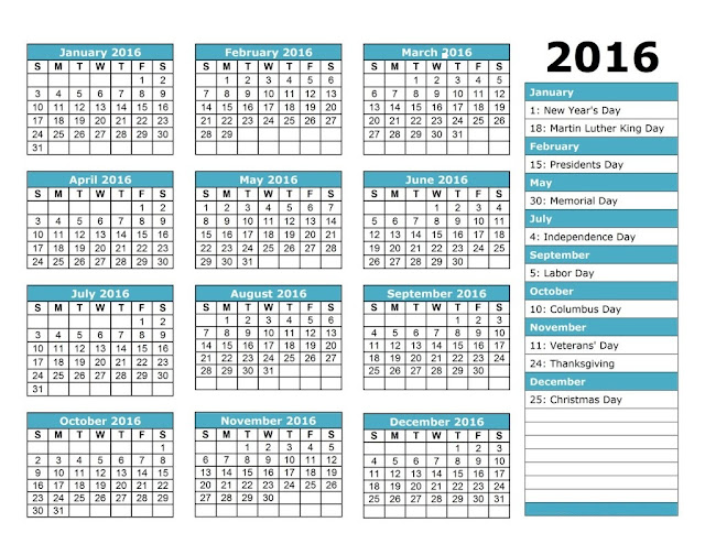 2016 Christian Holiday Calendar, Christian Holiday Calendar 2016, 2016 Holiday Calendar, Print 2016 Christian Holiday Calendar