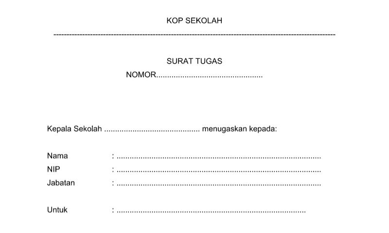 Bentuk Surat Tugas pada Administrasi TU (Tata Usaha) Sekolah Format Word (doc)