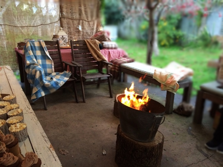 Woodland Campfire party in Winter - indoor/outdoor