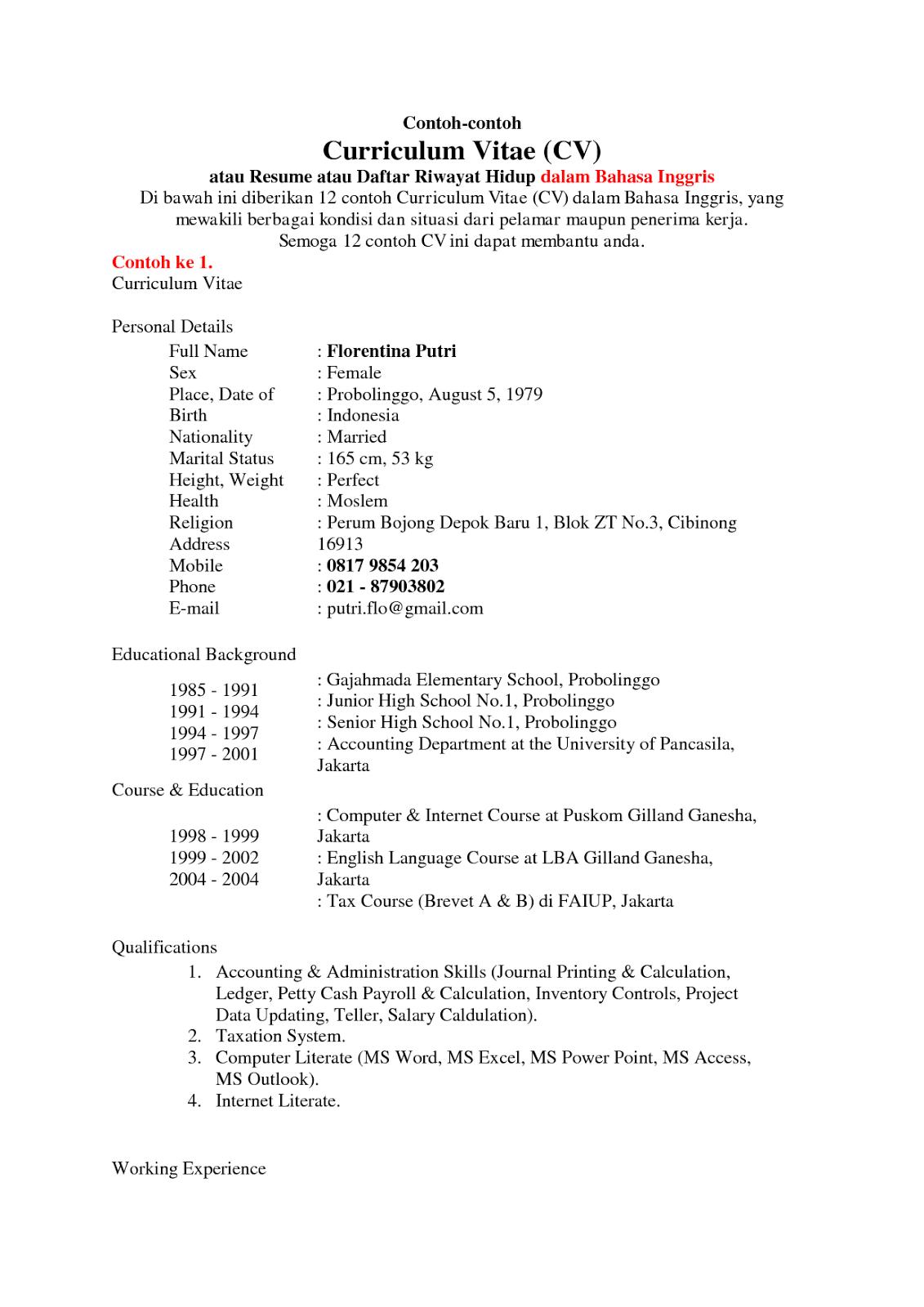 Download Curriculum Vitae Bahasa Inggris Doc Nemetas Aufgegabelt