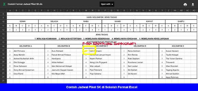 Contoh Jadwal Piket 5K di Sekolah Format Excel