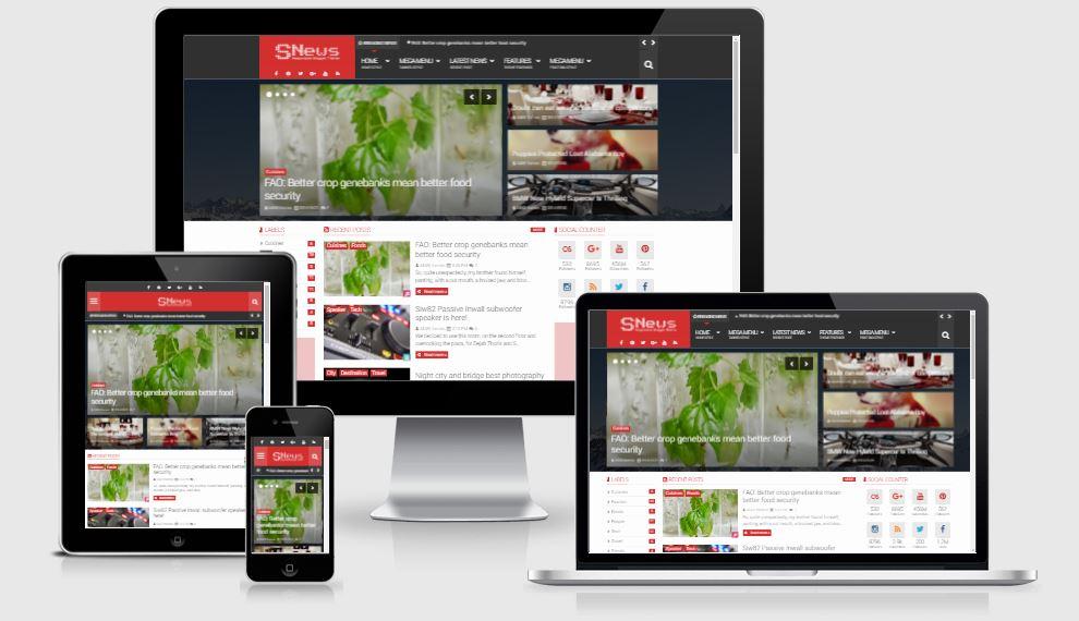 Snews v1.4.3 Responsive Blogger Template - Giao diện tin tức đẹp