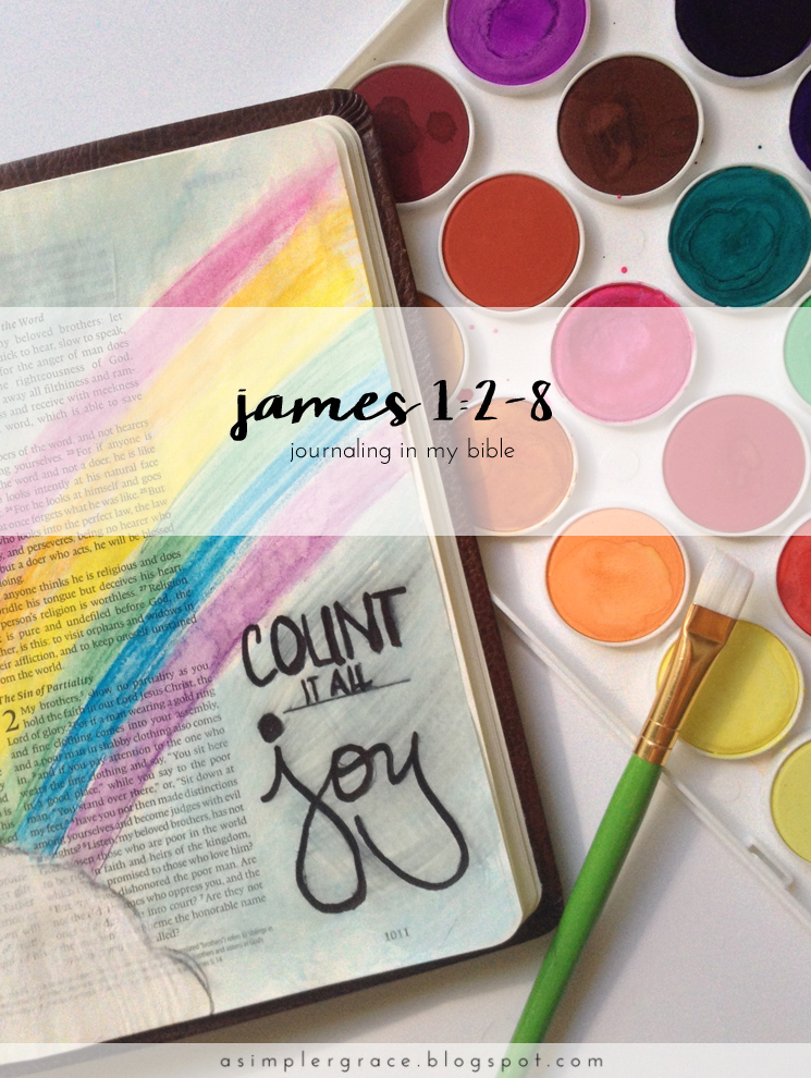 James 1:2-8 | Bible Journaling - A Simpler Grace #illustratedfaith