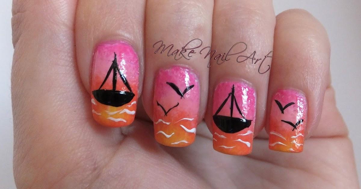 Make Nail Art: Summer Sea Sunset Nail Art Tutorial