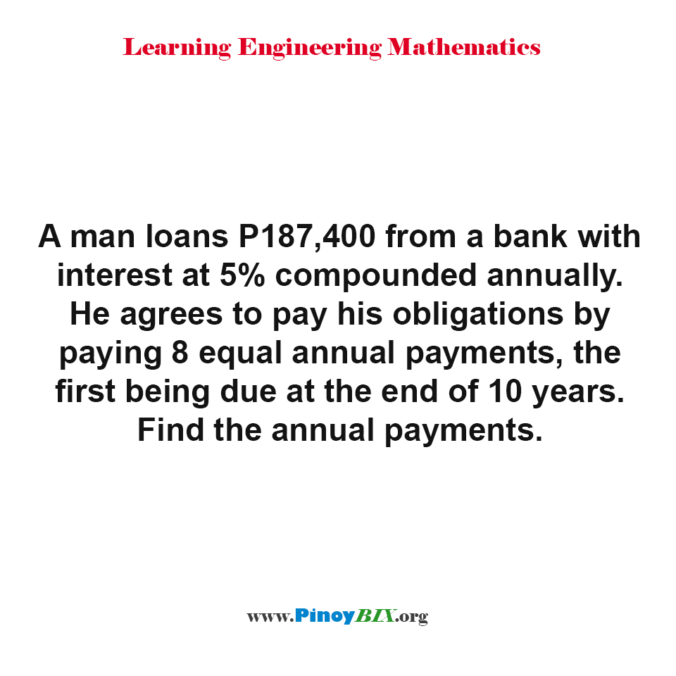 Find the annual payments of P187,400 loan from a bank with interest at 5% compounded annually