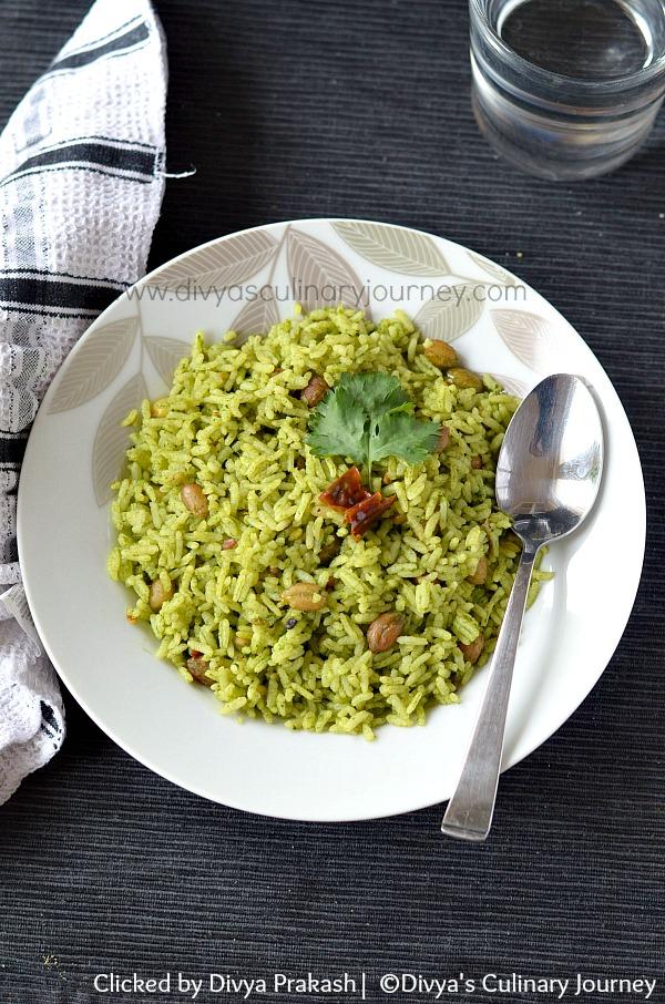 kothamalli sadam, coriander leaves rice