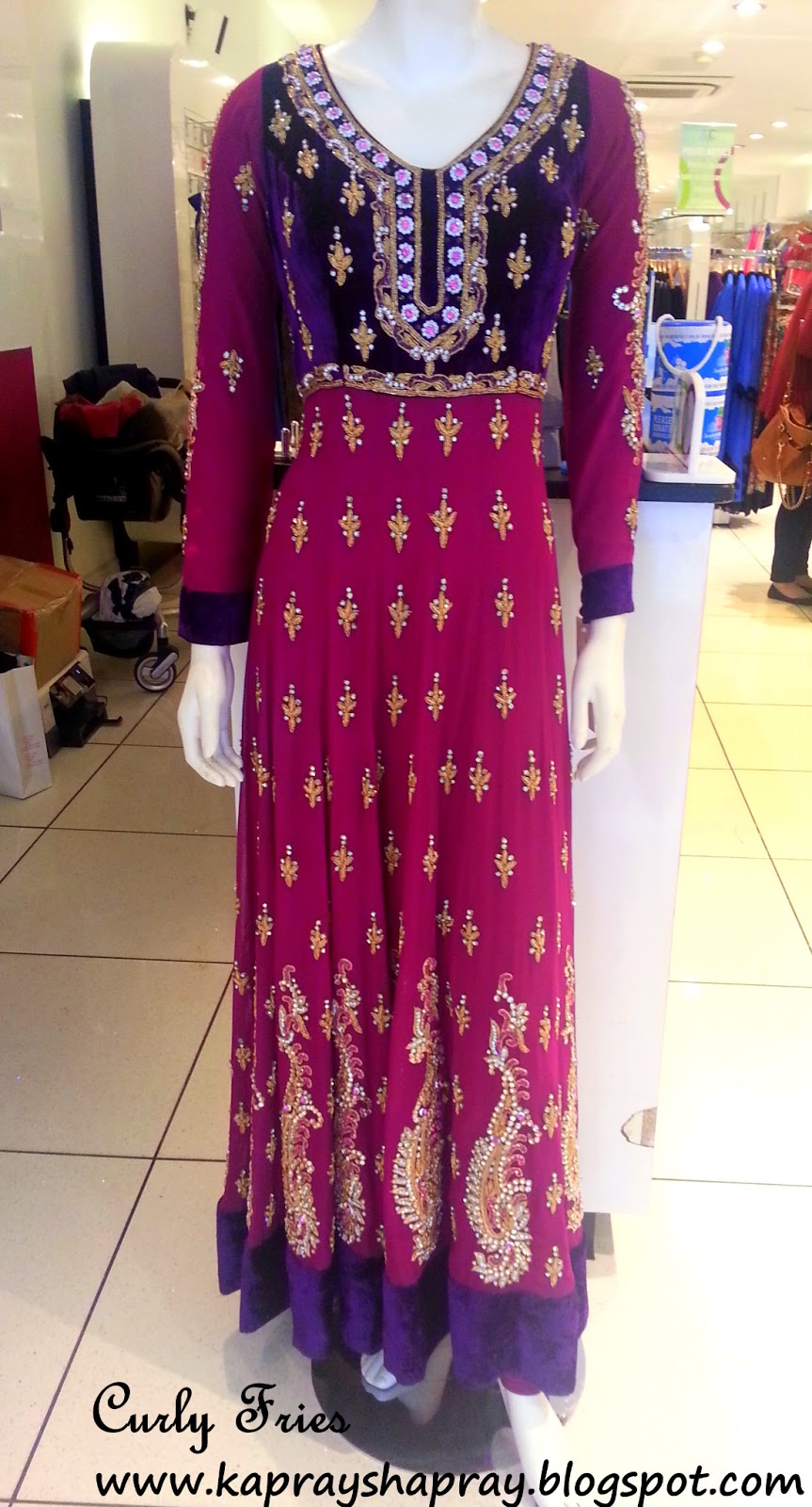 High Street Designs Pink Purple Long Anarkali By Rdc London