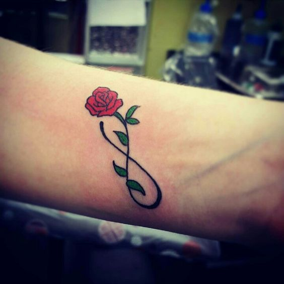 Colorful Rose Infinity Tattoo