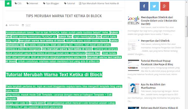 Tutorial Merubah Warna Text Ketika di Block