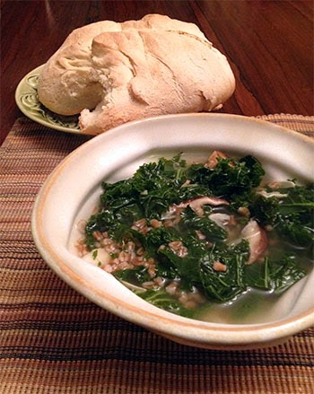 Garlic, Kale and Shitake Mushroom Soup by Future Relics