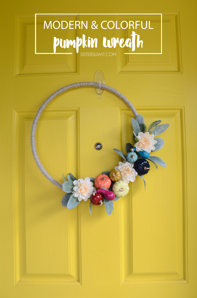 Modern colorful pumpkin wreath fall decor