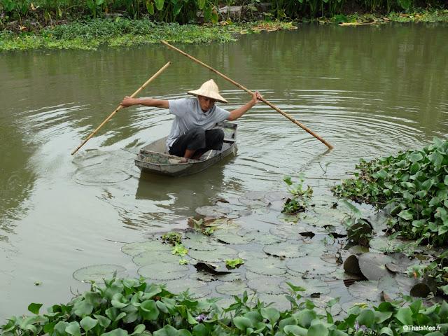 reserve naturelle van long ninh binh paysan pecheur barque tole