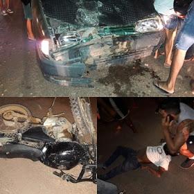 Em Itaituba: Acidente entre carro e moto na transamazônica deixa uma pessoa ferida.