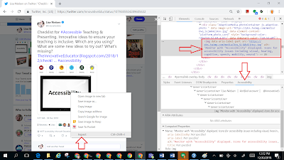 Screenshot of inspecting an image and then checking if there is alt text for that image.