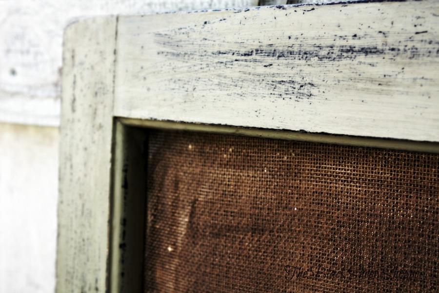 Rustic window frame.