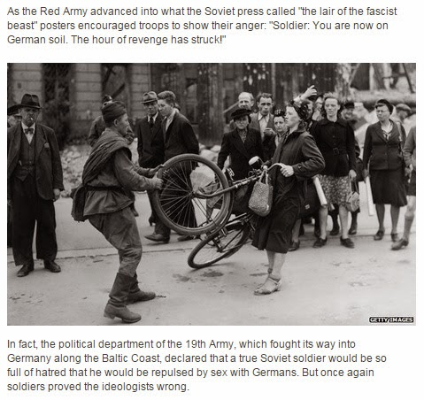 Screenshot from the same article with a photo of Red Army soldier taking a bike from a German woman.