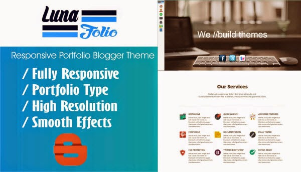 Luna Folio Responsive Portfolio Blogger Template