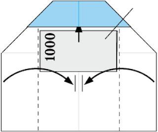 Bước 4: Đặt tờ tiền và gấp giấy lại