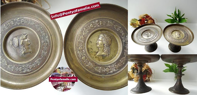 vintage pair of large bronze ornate footed dish Greek tradition figures,Greek sphinx winged animal and Harp lute. .