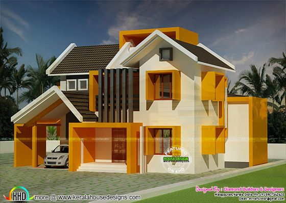 Colorful sloping roof home in 1600 sq-ft