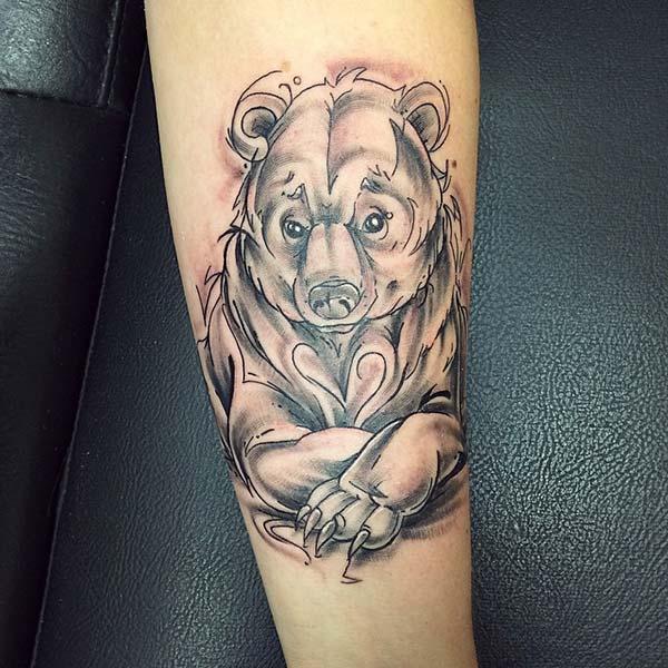 sevimli ayı kol dövmesi