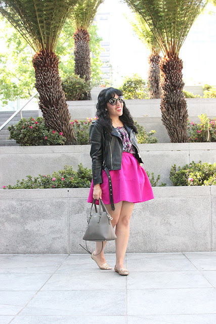 Zara Moto Jacket Pink Floral Outfit