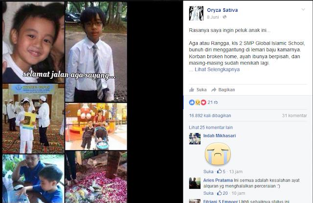 HATI - HATI buat ORANG TUA : Bocah kelas 2 SMP Tewas Gantung Diri.