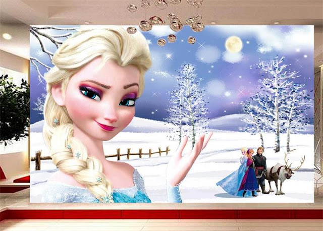 Frozen wall mural Disney Frozen wallpaper kids girl room mural 3d photo wallpaper ice world snow landscape cartoon