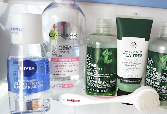 Skincare Routine for Oily Blemish Prone Skin Get clearer skin with these affordable items from the drugstore including the Body Shop Tea Tree Range, Garnier Micellar Water, Nivea Eye Makeup Remove rand Soap and Glory Exfoliating Brush