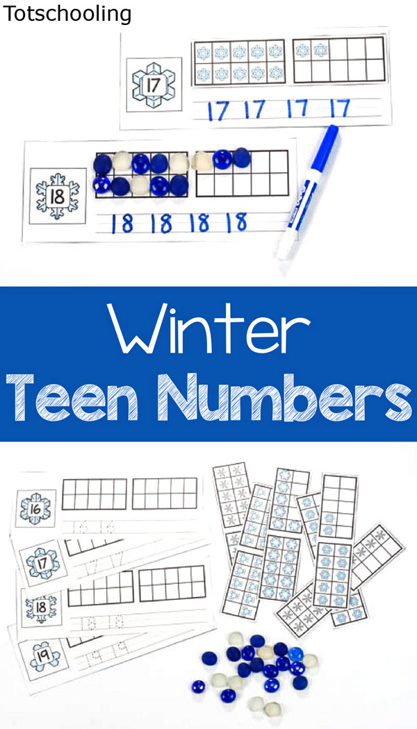 FREE Winter themed number practice cards for the teen numbers. Featuring ten frames along with number tracing and writing practice. Great for a Winter math center in kindergarten!