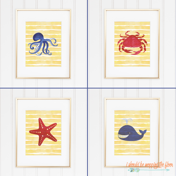 Four Free Beach Printables | Coordinating Watercolor Prints | Instant Downloads