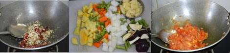 preparing mixed veg kootu