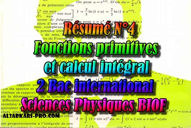 Résumé N°4 Fonctions primitives et calcul intégral ...