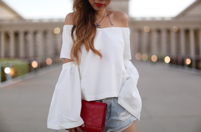 renamed off shoulder cut out top, off shoulder top, romantic off shoulder, chanel necklace, saint laurent clutch, one teaspoon denim shorts, giuseppe zanotti sandals, quay sunglasses, july4th outfit ideas, fourth of july outfit ideas, san francisco fashion blog, san francisco street style