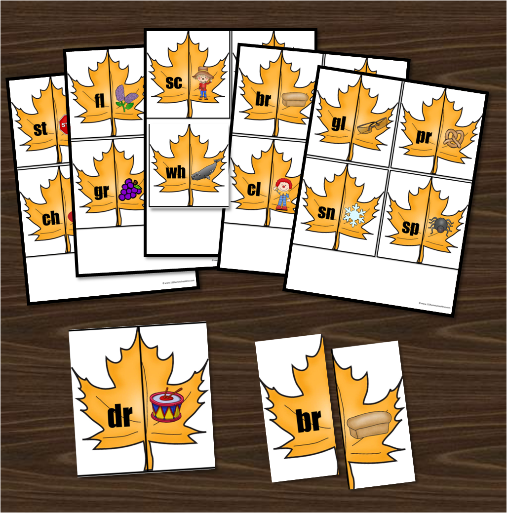 Free Beginning Blends Leaf Puzzles