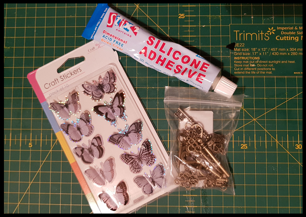 Butterfly stickers make great wings for Harry Potter winged keys