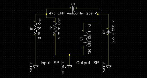 Membuat crossover audio pasif sederhana untuk speaker satu way, tanpa sumber listrik