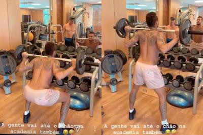 Após polêmica, Neymar surge fazendo exercícios físicos e ironiza: 'até o chão na academia'