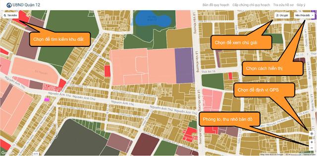 hướng dẫn xem và sử dụng bản đồ quy hoạch quận 12