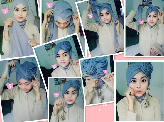 Tutorial Hijab Modern Turban Pesta Simple, Model Terbaru