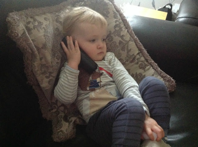 toddler on the phone
