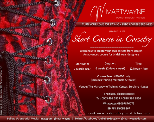 Learn How to Sew Corsets @ Martwayne.  Register for our new Short Course in Corsetry. Perfect for bridal wear designers!