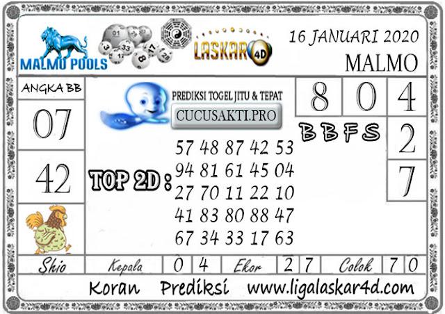Prediksi Togel MALMO LASKAR4D 16 JANUARI 2020