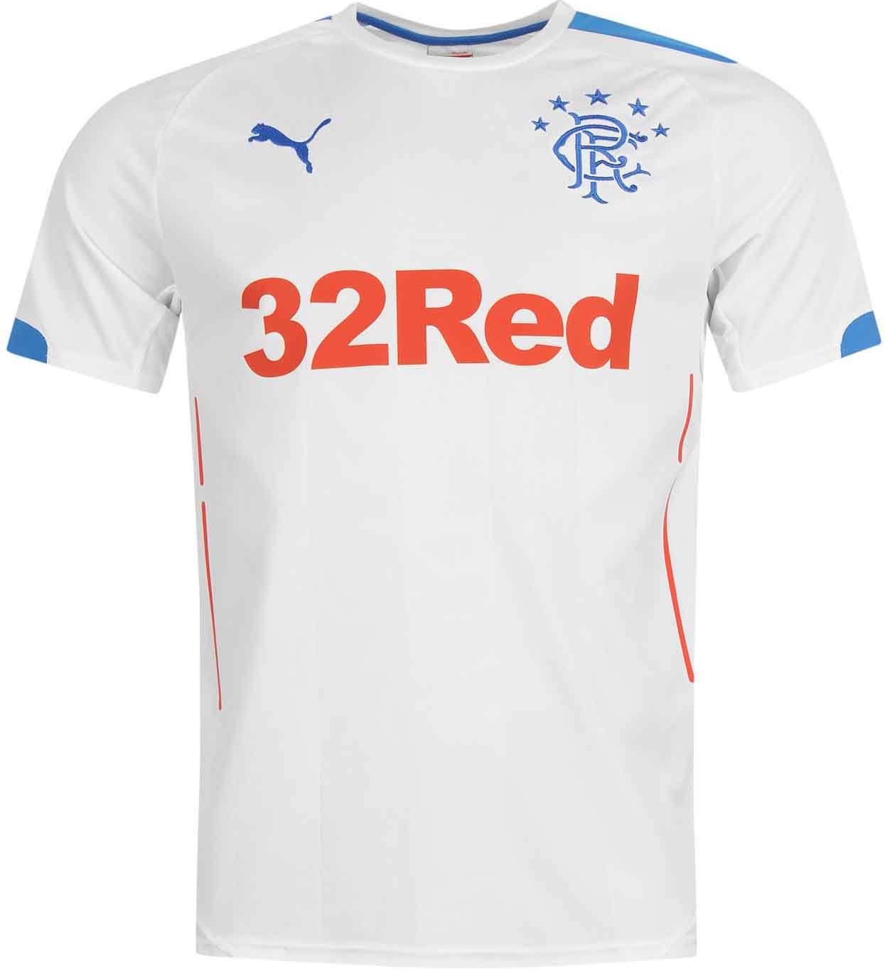 651a019d1db Based on the same template as the Glasgow Rangers 2014-15 Third Jersey, the  new Ragers 2014-2015 Away Shirt is mainly white with blue and red  applications.