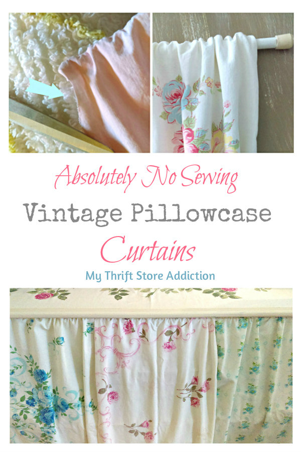 No sew vintage pillowcase curtains