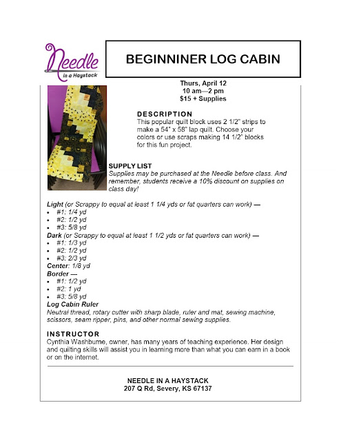 BEGINNER LOG CABIN...Sign up for class along with a buddy & You Get 25% off this April 12, 2018 Class.